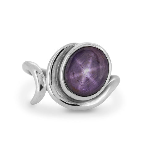 Entwine statement ring in sterling silver and star ruby - ready to wear