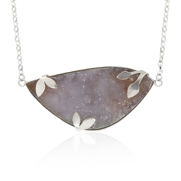 Spring necklace with druzy chalcedony - READY TO WEAR
