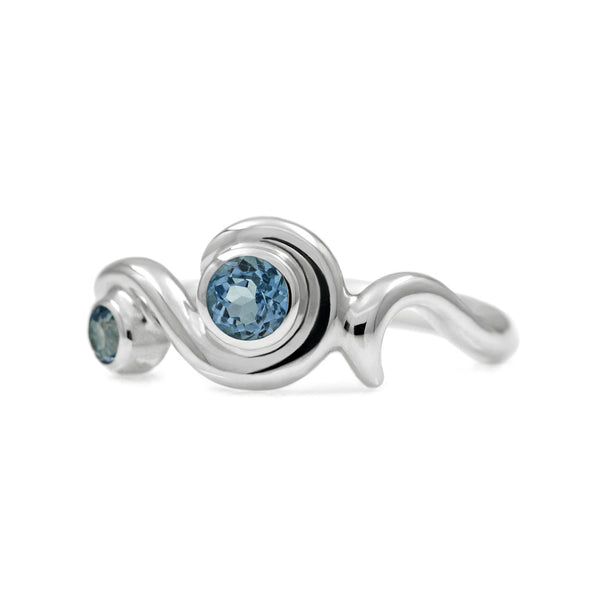 Entwine two stone gemstone engagement ring  - sterling silver and blue topaz