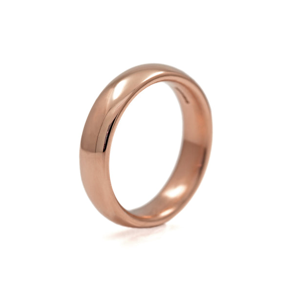 Court shaped wedding band recycled rose gold