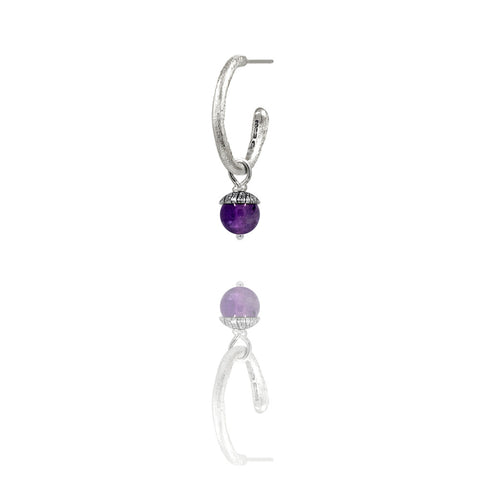 sterling silver textured twig hoop earrings with interchangeable purple amethyst acorn drops. Handmade in Salisbury, Wiltshire.