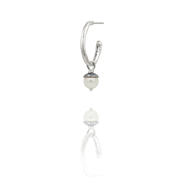 sterling silver textured twig hoop earrings with interchangeable white pearl charm drops