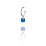 sterling silver textured twig hoop earrings with interchangeable blue agate acorn drops. Handmade in Salisbury, Wiltshire.