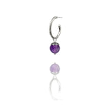 Sterling silver interchangeable acorn charms for twig hoop - medium - purple amethyst