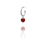 Sterling silver interchangeable acorn charms for twig hoop - medium - red carnelian