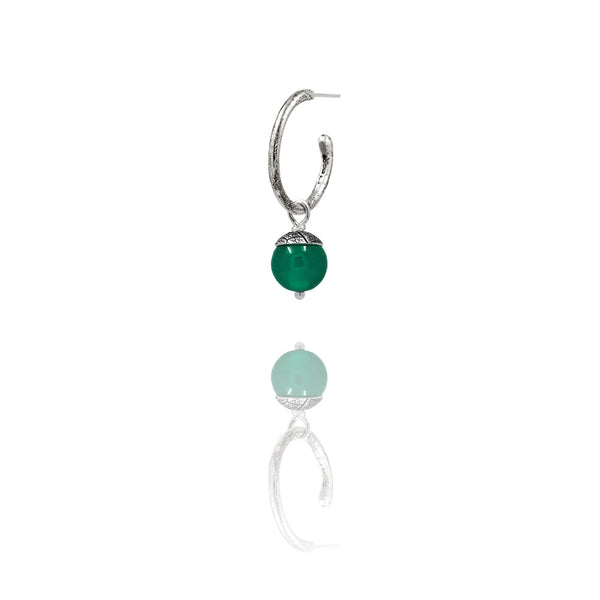 sterling silver textured twig hoop earrings with interchangeable green agate acorn drops. Handmade in Salisbury, Wiltshire.