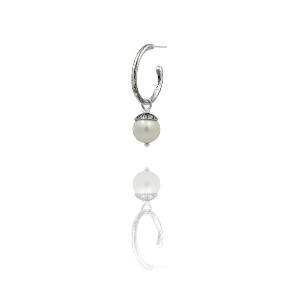sterling silver textured twig hoop earrings with interchangeable white acorn drops. Handmade in Salisbury, Wiltshire.