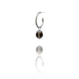 sterling silver textured twig hoop earrings with interchangeable brown smoky quartz acorn drops. Handmade in Salisbury, Wiltshire.