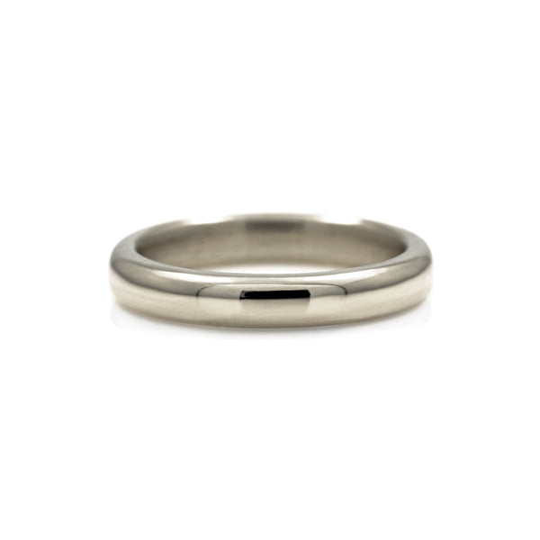 Court shaped wedding band recycled white gold