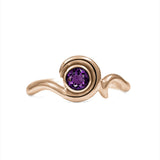 Entwine solitaire engagement ring in 9ct gold - rose gold and amethyst