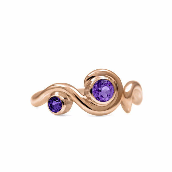 Entwine two stone gemstone engagement ring - 9ct rose gold and amethyst