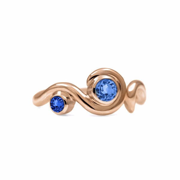 Entwine two stone sapphire ring in 9ct gold
