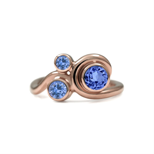 Entwine three stone  sapphire engagement ring -  9ct  rose gold and blue sapphire