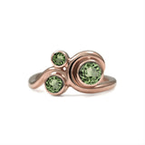 Entwine three stone  sapphire engagement ring -  9ct rose gold and green sapphire