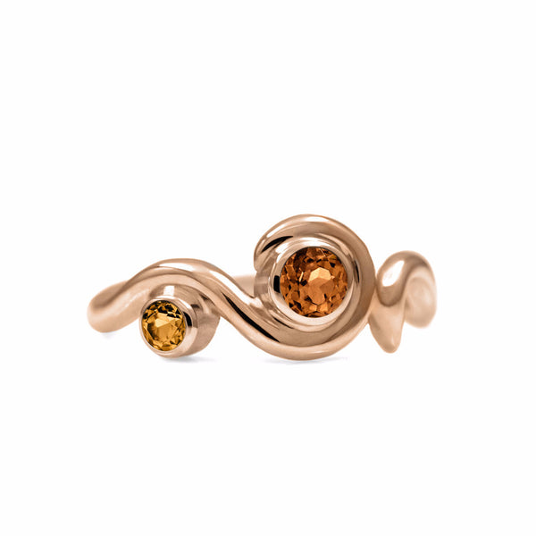 Entwine two stone gemstone engagement ring - 9ct rose gold and citrine