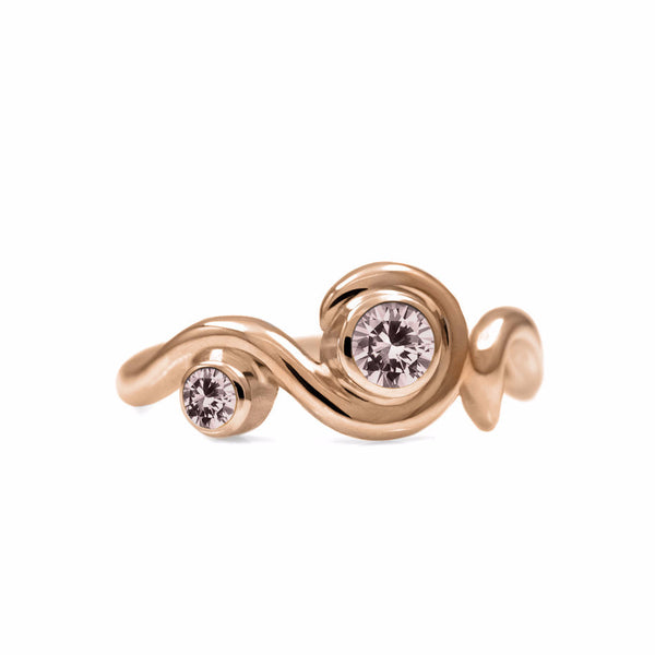 Entwine two stone gemstone engagement ring - 9ct rose gold and morganite