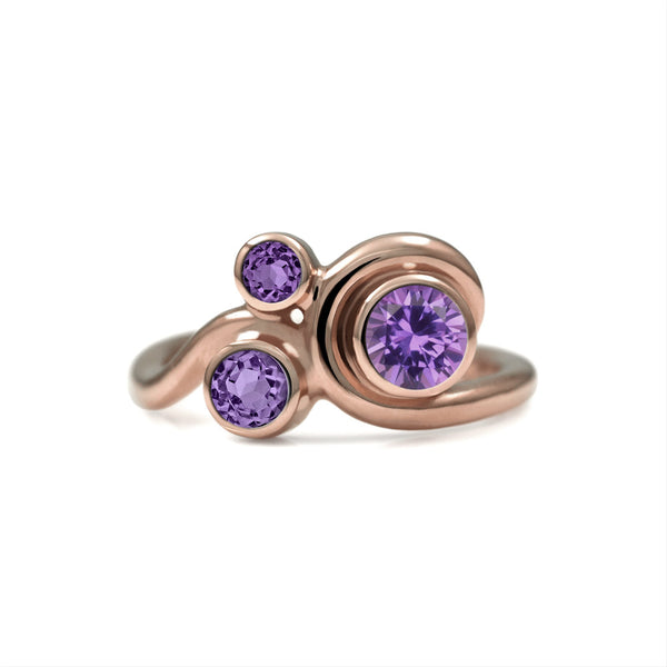 Entwine three stone  sapphire engagement ring -  9ct rose gold and purple sapphire