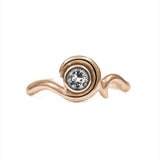 Entwine solitaire engagement ring in 9ct gold - rose gold and white topaz