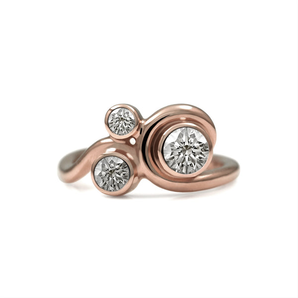 Entwine three stone engagement ring - 9ct rose gold and diamond