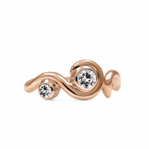 Entwine two stone gemstone engagement ring - 9ct rose gold and white topaz