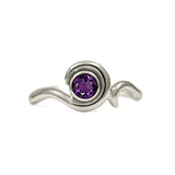 Entwine solitaire engagement ring in 9ct gold - white gold and amethyst