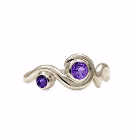 Entwine two stone gemstone engagement ring - 9ct white gold and amethyst