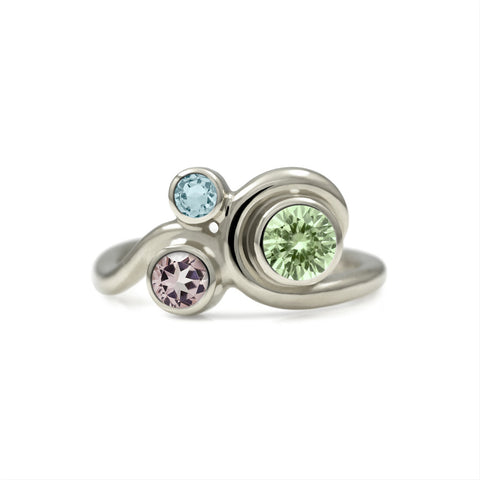 Entwine three stone gemstone engagement ring - 9ct white gold and beryl - green beryl, morganite and aquamarine