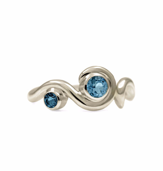 Entwine two stone gemstone engagement ring - 9ct white gold and blue topaz