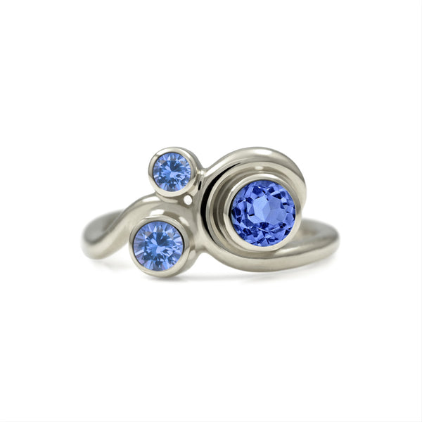 Entwine three stone  sapphire engagement ring -   9ct  white gold and blue sapphire