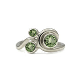 Entwine three stone  sapphire engagement ring -  9ct  white gold and green sapphire