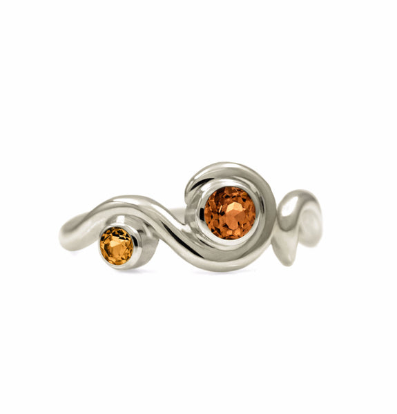 Entwine two stone gemstone engagement ring - 9ct white gold and citrine