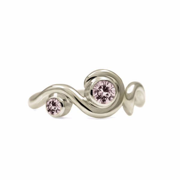 Entwine two stone gemstone engagement ring - 9ct white gold and morganite