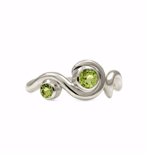 Entwine two stone gemstone engagement ring - 9ct white gold and peridot