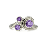 Entwine three stone  sapphire engagement ring -   9ct white gold and purple sapphire