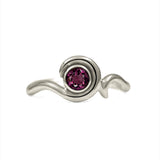 Entwine solitaire engagement ring in 9ct gold - white gold and rhodolite garnet