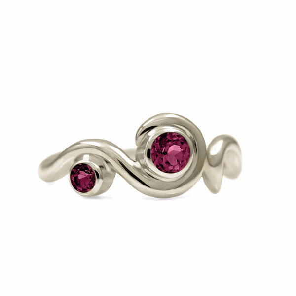 Entwine two stone gemstone engagement ring - 9ct white gold and rhodolite garnet