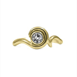 Entwine solitaire engagement ring in 9ct gold - yellow gold and white topaz