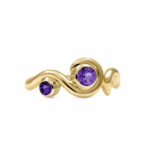 Entwine two stone gemstone engagement ring - 9ct yellow gold and amethyst
