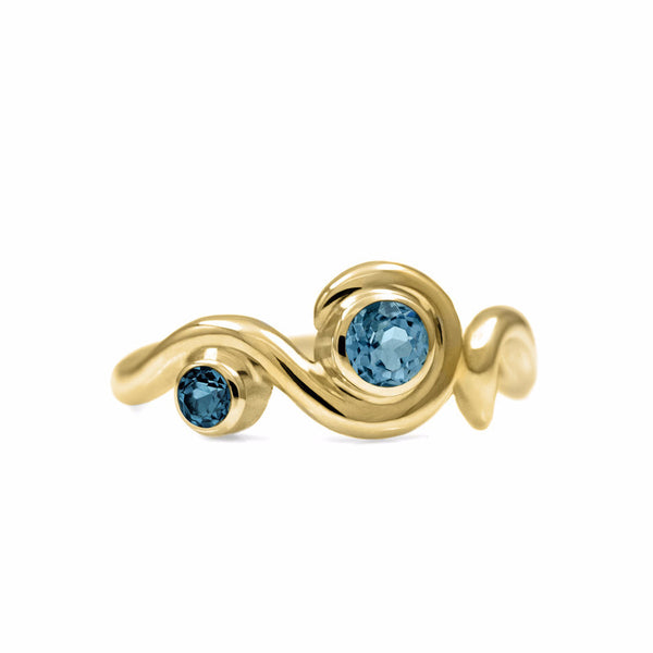 Entwine two stone gemstone engagement ring - 9ct yellow gold and blue topaz