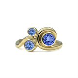 Entwine three stone  sapphire engagement ring -  9ct yellow gold and  blue sapphire