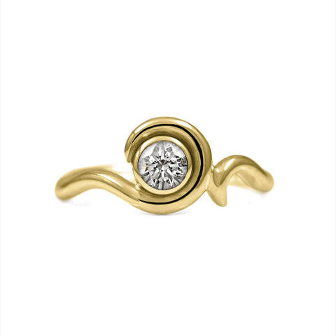 Entwine diamond solitaire ring in 18ct gold
