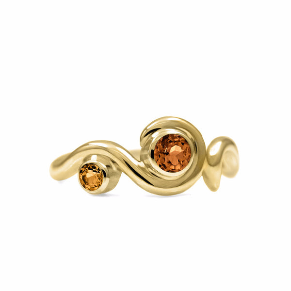 Entwine two stone gemstone engagement ring - 9ct yellow gold and citrine