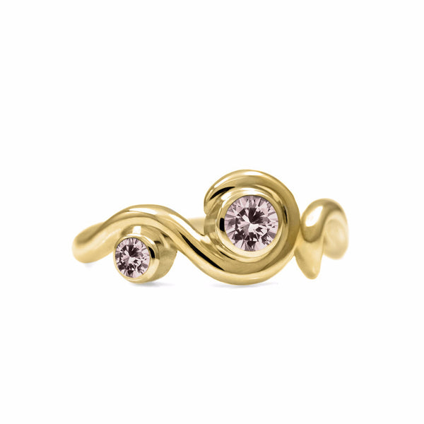 Entwine two stone gemstone engagement ring - 9ct yellow gold and morganite