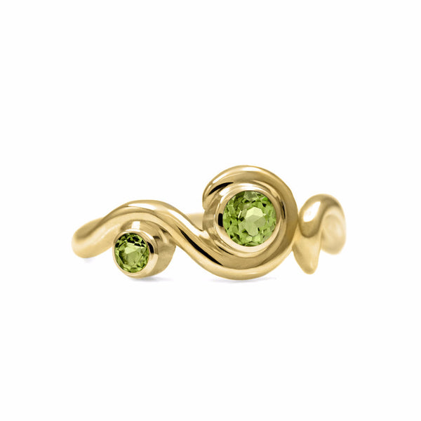 Entwine two stone gemstone engagement ring - 9ct yellow gold and peridot