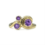 Entwine three stone  sapphire engagement ring -  9ct yellow gold and purple sapphire
