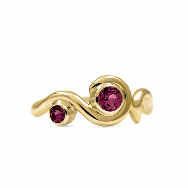 Entwine two stone gemstone engagement ring - 9ct yellow gold and rhodolite garnet