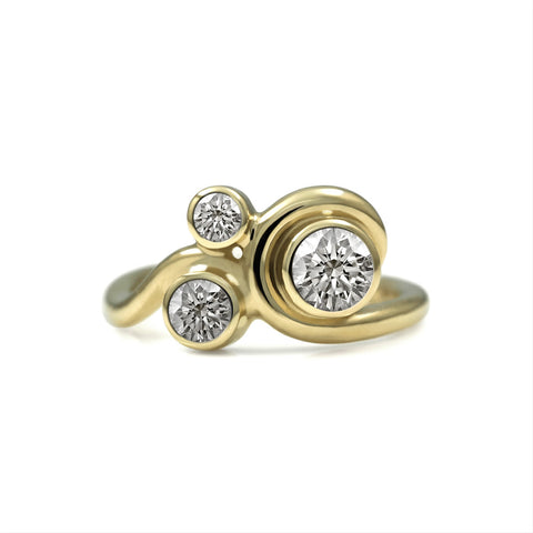 Entwine three stone diamond ring in 9ct & 18ct gold