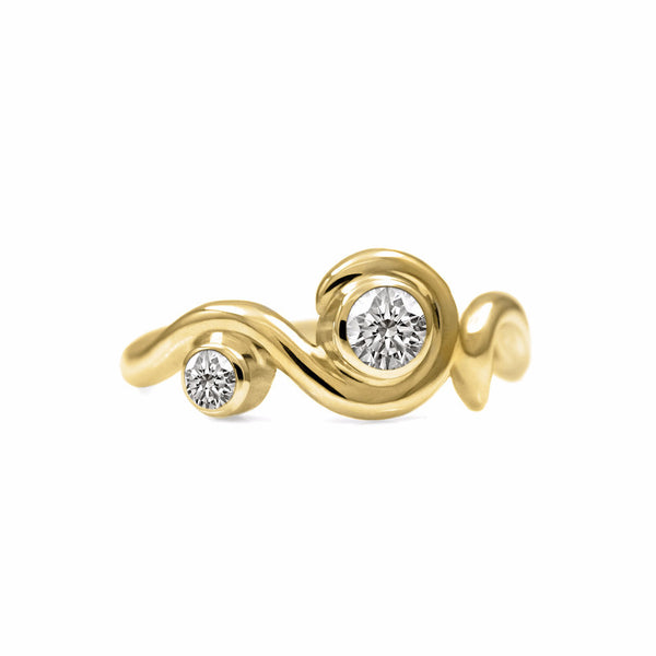 Entwine two stone diamond engagement ring - 9ct yellow gold and diamond