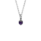 Sterling silver and gemstone acorn charm pendant - small - purple amethyst