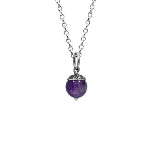 Sterling silver and gemstone acorn charm pendant - medium - purple amethyst